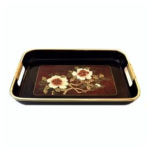 VTG Japanese Black Lacquer Tray with Floral Design